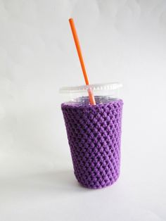 New to SalemStyle on Etsy: iced coffee cozy medium. Crochet coffee cozy. purple cup cozy. Cotton cup sleeve. Eco friendly cup jacket. drink cozy. Purple cup sleeve (10.00 USD)
