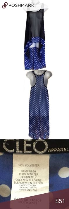 Hi-Lo Sheer Cover Up w/ Racer Back and Polka Dots Blue and black racer back sheer cover up with polka dots and a hi-lo design. You can use it over a bathing suit or maybe with a trendy bralette and leggins. Just adorable! 100% polyester, size L. Measures 17 inches across from armpit to armpit and about 24.5 inches in length (front) and 42.5 inches in back. Cleo Apparel Tops Tunics