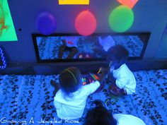 Glowing face paint, glowing bubbles, blacklight themed kid party