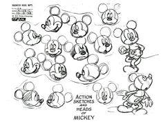 Galerie de coloriages gratuits coloriage-adulte-mickey-mouse. Planche originale de Disney avec différentes expressions faciales de Mickey Mouse, que vous pouvez mettre à couleur  comme vous le souhaitez !