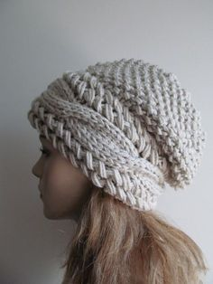 a35b2d81cba Slouchy Beanie Slouch Cable Hats Oversized Baggy Beret Button womens fall  winter accessory Light Grey Linen Gray Super Chunky Hand Made Knit