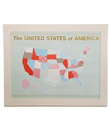 There's a template so you can create this map using scrapbook paper.  It would be so fun to use one kind of paper (or color?) for states your family has visited, and use that to cover the ones you visit in the future...another color/pattern could be the ones you want to visit...you could do so much with this!  For the seriously crafty among us, how about doing it with fabric?