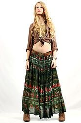90's Jingle Bells Maxi Skirt OS - Vintage 90s Green Sheer Airy Crinkle Gypsy Boho Hippie Festival India Maxi Skirt