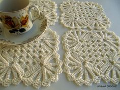 PDF Crochet Pattern, Easy Tutorial Pattern Shabby Chic Crochet Coaster, Shabby Chic Decor, Lyubava Crochet Pattern number 11. $3.99, via Etsy.