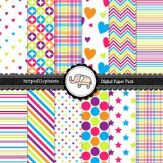 Digital Scrapbooking Paper - Rainbow Digital Paper Pack For Digital Scrapbooking - Personal and commercial - Buy 2 Get 1 Free. $5.20, via Etsy.