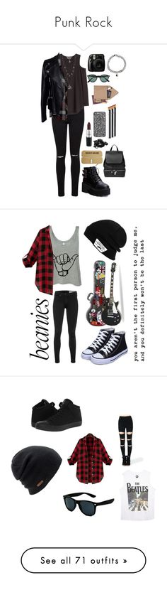 """""""Punk Rock"""" by pebble2000 ❤ liked on Polyvore featuring Miss Selfridge, Rails, Alexander McQueen, Aéropostale, COSTUME NATIONAL, Fujifilm, MAC Cosmetics, Urbanears, Ray-Ban and i am a"""