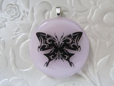 Fused glass pendant  Butterfly decal  Pink  Fused by feesfusions