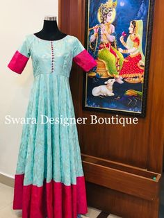 Beautiful powder blue color floor length dress with pink color benaras boarder. Ready to ship Can be customised To order WhatsApp 9959021569 Saree Gown, Anarkali Dress, Lehenga, Sarees, Indian Gowns Dresses, Indian Outfits, Long Gown Dress, Long Frock, Long Dress Design