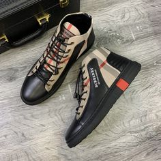 Burberry House Check Cotton And Leather Sneakers In Beige Beige Sneakers, Leather Sneakers, Burberry Outlet Online, Cheap Burberry, Sheep Leather, Sale Store, Check Dress, Dress Outfits, Converse