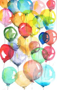 I loved all the wedding art today . Tonight and Monday, let's do illustrations of BALLOONS & BUBBLES Watercolor Cards, Watercolor Paintings, Happy Paintings, Watercolours, Ballon Illustration, Happy Birthday Art, 13th Birthday, Birthday Cards, Balloon Painting