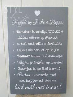 Tekstbord Regels by pake en beppe - Fries / Frysk - Styl*Shop - Mooie (Fryske) woonaccessoires en (Friese) tekstborden vind je bij Styl*Shop - jouw online webwinkel!
