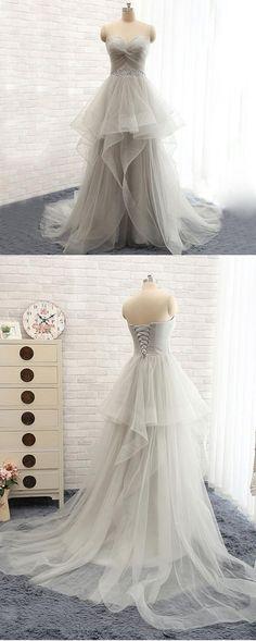 Long Prom Dresses,Gray Prom Dresses,Charming Prom Dress,Tulle lace up Prom Dress,Party dress  #seoydress #shipping #promdresses