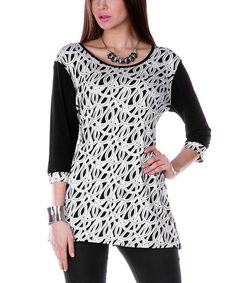 Look at this #zulilyfind! Black & White Loop Scoop Neck Tunic
