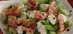Toplo-hladna salata od matovilca, jabuke, Dukatele i slanine. Zanimljiva kombinacija okusa, može poslužiti kao samostalni obrok ili kao izrazito ukusan prilog. Vi birate!