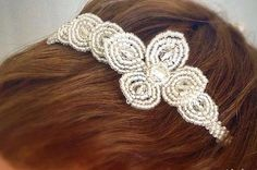 Vintage style bridal headpiece on headband by CataleyaHandcrafts