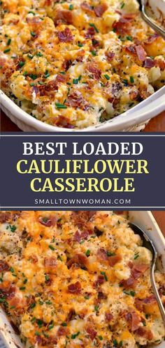 Vegetable has never tasted this good! Loaded Cauliflower Casserole is a real winner. Steamed cauliflower is combined with cream cheese, sour cream, sharp cheddar, Monterey Jack, bacon, and chives for a filling meal even picky eaters will love. Pin this recipe for later! Loaded Cauliflower Casserole, Vegetable Casserole, Califlower Casserole, Baked Califlower, Vegetarian Recipes, Cooking Recipes, Healthy Recipes, Healthy Filling Meals, Dinner Healthy
