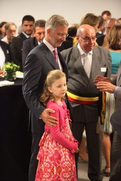 Princess Elisabeth and Princess Mathilde of Belgium photographed during the inauguration at Princess Elisabeth Children Hospital on September 7, 2011 in Gent, Belgium. The little princess made her first public speech at this event.