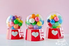 These Mini Bubblegum Machine Valentine's are a super cute gift for Valentine's Day and are also refillable.  Kids love making and enjoying this DIY gift!