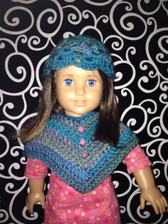 Made with Red Heart Unforgettable yarn. Crocheted dolly accessories.