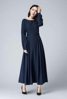 Dark Blue Linen Maxi Dress Prom Dress Spring Dress by xiaolizi Linen Dresses, Cotton Dresses, Spring Dresses, Blue Dresses, Prom Party Dresses, Dress Prom, Dress Long, Mode Hijab, Mode Inspiration
