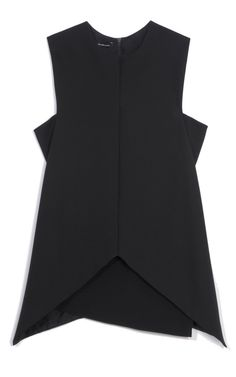 Shop Black Stretch Wool Twill Top by Narciso Rodriguez for Preorder on Moda Operandi