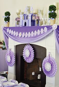 Princess Party mantle decoration ideas — 3D paper candelabras, castles & draped fabric