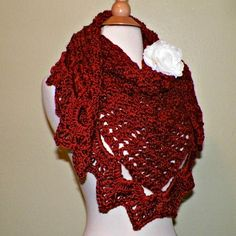Scarf  Triangle Shawl Freeform Red Brown by wildirishrosecrochet, $54.00
