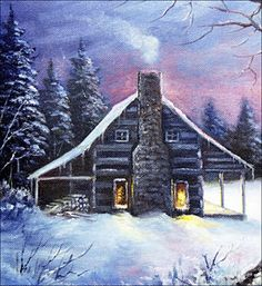 Huge selection of tole and decorative painting supplies, books, patterns, paints and brushes for the busy artist. Large archive of free patterns, too! Simple Acrylic Paintings, Easy Paintings, Landscape Paintings, Watercolor Paintings, Landscapes, Christmas Scenery, Christmas Art, Winter Painting, Winter Art