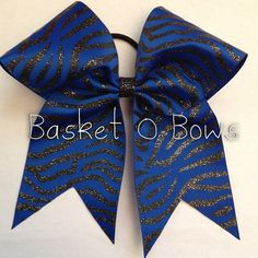 Royal Blue ZEBRA Cheer Bow or Softball Bow (black zebra stripes) ~ Size Huge Large Big Texas Style on Etsy, $9.00