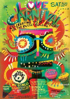 Lee Hodges Illustration - Love Carnival Posters Carnival Posters, Circus Poster, Picture Layouts, Tropical Decor, Graphic Illustration, Illustrations, Art Dolls, Street Art, Doodles