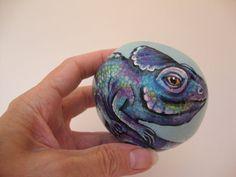 Blue Lizard Hand Painted Rock