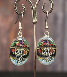 Catrina Alpaca Earrings Hand Made, Day of the Dead, Mexican Folk Art Hippie Boho