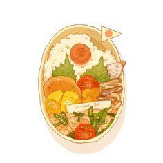 [Pixiv] What's in my bento today -? Chibi Food, Cute Food Art, Food Sketch, Cute Food Drawings, Food Cartoon, Watercolor Food, Food Painting, Food Illustrations, Food Coloring