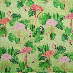 Flamingo Paradise Garden Lime fabric by Robert Kaufman. Only £2.80 per Fat quarter!