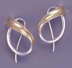 Sweeping Motion by Nancy Linkin: Silver & Gold Earrings available at www.artfulhome.com