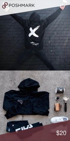 d36f227f124 Champion Hoodie Black Champion Hoodie Size Small Embroidered lips melting  logo on front left pocket back print design has big white White Noise  Coffee ...