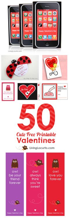 Over 50 CUTE Free Printables for Valentine's Day! An amazing list of FREE Printable Designs for Valentines Day on Living Locurto. Party Ideas, Cards, Coloring Sheets, Classroom Gifts, Teacher gifts an (Favorite Party Free Printables) Kinder Valentines, Valentines Day Gifts For Him, Valentines Day Party, Valentine Day Crafts, Printable Valentine, Valentine Ideas, Printable Designs, Free Printables, Party Printables