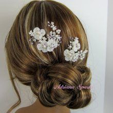 emBridal Flower Hair/em Pin, emWedding Hair Accessories/em, Organza emFlower/em ...