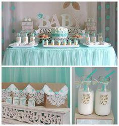 "Turquoise Owl ""Welcome Home Baby"" Party via Kara's Party Ideas | KarasPartyIdeas.com (4)"