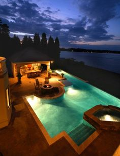 Lake view, Mediterranean style Pool with Hot tub, Outdoor Kitchen Cabana and Fire Pit area/seating
