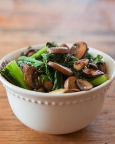 Garlic Greens & Mushrooms by teacher-chef #Salad #Greens #Mushrooms #Garlic