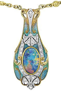 Pendant detail: Tiffany & Co. Art Nouveau necklace with a gold, enamel, and black opal pendant on a peridot and white opal-studded gold chain. Circa 1900. Via Diamonds in the Library.