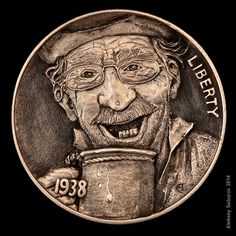 "Hobo Nickel ""Cheers"" by master engraver Aleksey Saburov."