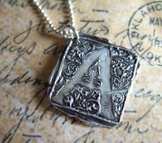 Monogram Jewelry, Initial Pendant, Wax Seal Stamp Necklace, A B C D E F G H  I J K L M N O P Q R S T U V W X Y Z Vintage Letters. $55.00, via Etsy.