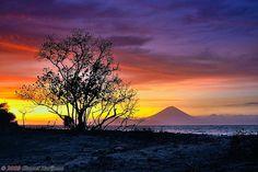 Sunset at Gili Trawangan, Lombok, Indonesia.Sunset at Gili Trawangan overlooking mountains in Bali at the other side