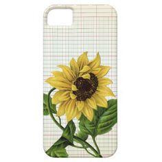 Vintage Sunflower on Ledger Paper iPhone 5 Case