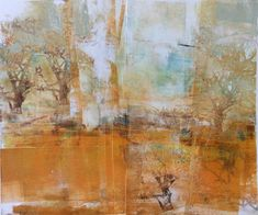"""Daily Painters Abstract Gallery: Contemporary Abstract Landscape Painting """"Earth Illusions-Autumn"""" by Intuitive Artist Joan Fullerton"""