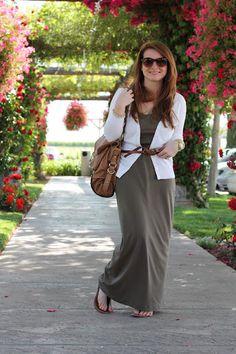 maxi dress + cardigan + skinny belt + sandals