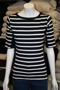 Navy/White stripe short sleeve cotton rich top from Key West. Ireland Clothing, Striped Shorts, Key West, Fashion Outfits, Womens Fashion, Jacket Dress, Navy And White, Knitwear, Luxury Fashion