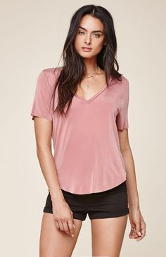Hooked on Stone Wash Cupro V-Neck T-Shirt that I found on the PacSun App
